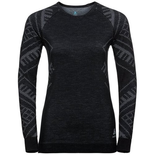 Термофутболка ODLO ( 110711 ) BL TOP Crew neck l/s NATURAL + KINSHIP W 2020 black melange-60008 L (7613361240775) 1
