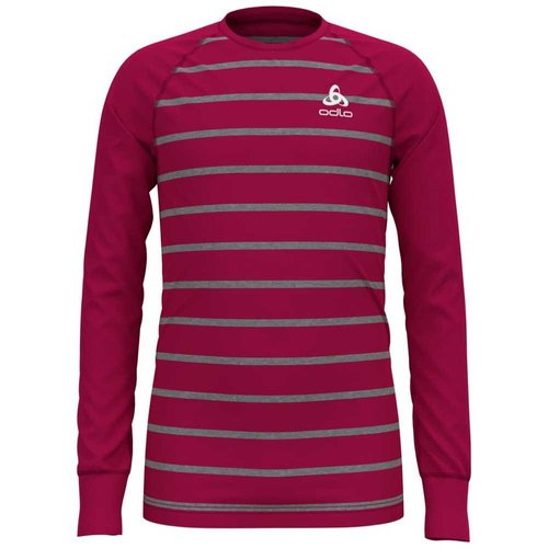 Термофутболка ODLO ( 10459 ) BL TOP Crew neck l/s ACTIVE WARM KIDS 2020 cerise-grey melange-stripes-70697 140 (7613361492372) 1