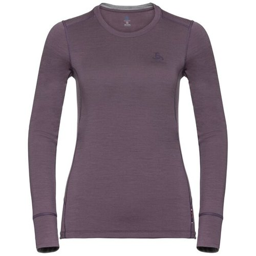 Термофутболка ODLO ( 110811 ) TOP l/s NATURAL 100% MERINO 2019 violet - grey melange-30492 L (7613361336669) 1