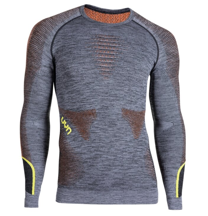 Термофутболка UYN ( U100015 ) AMBITYON UW SHIRT LG_SL. MELANGE 2020, Black Melange/Orange/Yellow-B616
