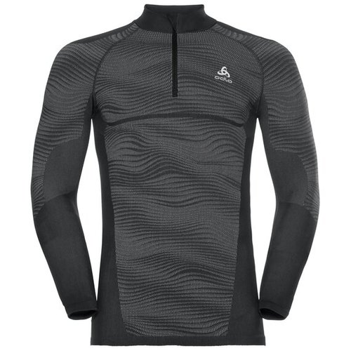 Термофутболка ODLO ( 187112 ) TOP l/s half zip BLACKCOMB 2019, black - odlo steel grey - silver-60215, L